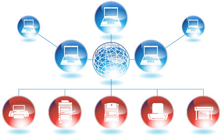 Printer Network : Computer printer network diagram in red and blue colors. Ilustracja