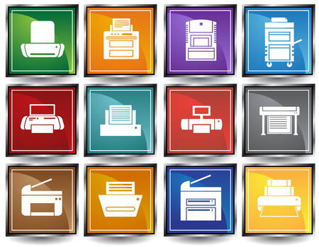 Printer Square Icons Color: Set of bright colorful chrome frame themed computer printer icon buttons.