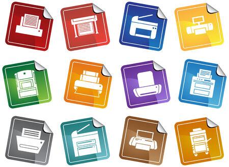 : Drucker Sticker Symbole Farbpalette von Leuchtend bunte Aufkleber Frame thematisch Computer Drucker Symbol Schaltflächen. Standard-Bild - 5163274