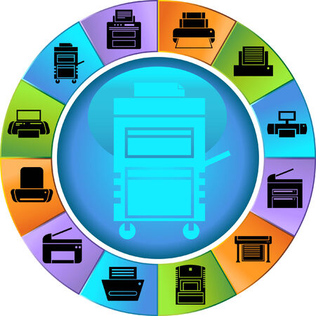 Printer Wheel Color: Set of bright colorful wheel themed computer printer icon buttons.