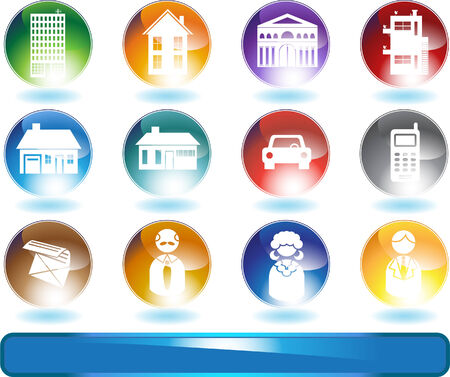 Real Estate Crystals: Set of real estate themed shiny round button objects. Vector