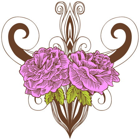 Pink Rose Vase Drawing : Beautiful hand drawn pink rose bloom and vase with leaves in a sepia tone.
