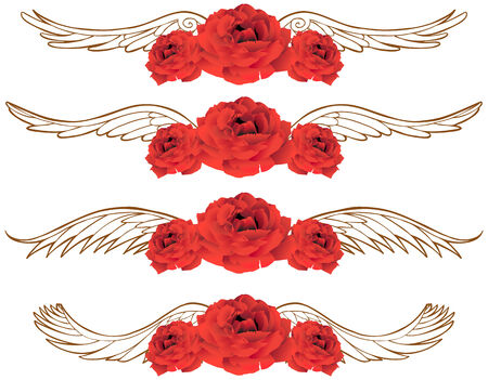 red rose: Rose Wing : Beautiful hand drawn red rose blooms with wings in a sepia tone.