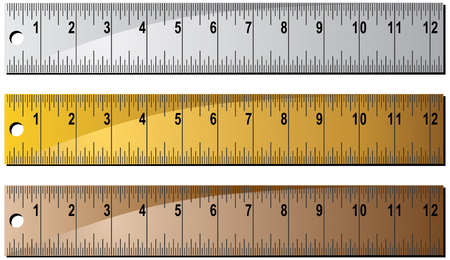 inches: Metal Ruler Set : Group of inches rulers in different colors.