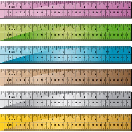 inches: Metal Ruler Color Set : Group of rulers in different colors.