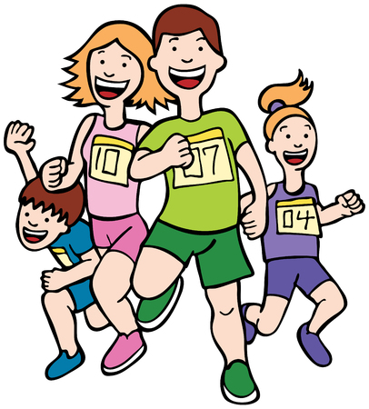 family: Family Run Art : Cartoon of a family running together in a racing event.