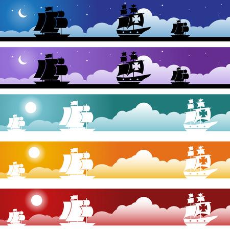 Spanish Galleon Banner : Set of Spanish Galleon boat web banners. Иллюстрация