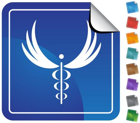 minimal: Caduceus Minimal Sticker : Medical symbol on a sticker. Illustration