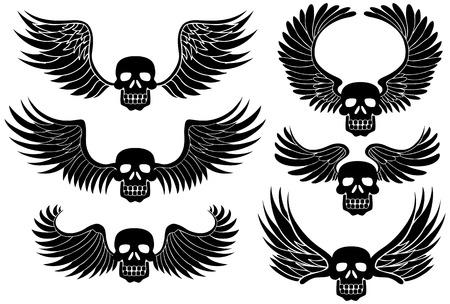 Winged Skull : Set of black skulls with wings. Vector