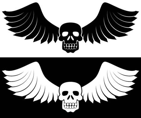 Winged Skull Set : Set of two black skulls with wings. Vector