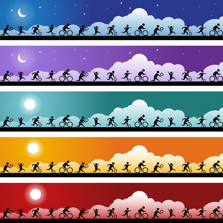 Sports Banner Set : Group of people doing different types of sports on a set of web banners. Vector