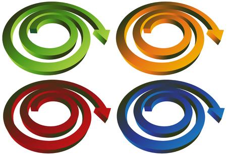 flechas curvas: Conjunto de flecha de la espiral: Grupo de espiral en forma de flechas.