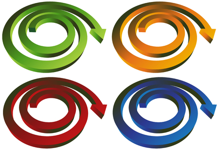 curved arrows: Spiral Arrow Set : Group of spiral shaped arrows.