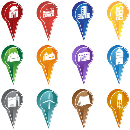 Mapping Pin Set : Set of colorful navigation pins with a building  location theme. Vector