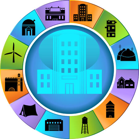 Structure Wheel Icon Set : Group of different types of buildings and structures. Stock Vector - 5163219