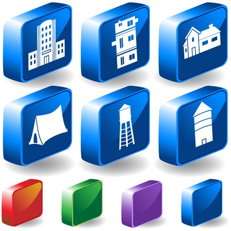 Structure 3D Icon Set : Group of different types of buildings and structures.