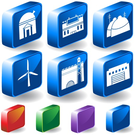 Structure 3D Observatory Icon Set : Group of different types of buildings and structures. Stock Vector - 5163225