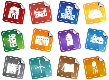Structure Sticker Icon Set : Group of different types of buildings and structures Stock Vector - 5163278