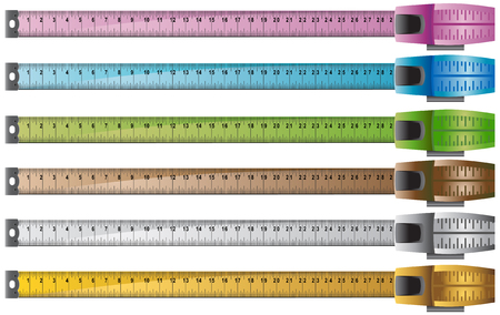 tapes: Measuring Tape Icon Set : Group of rulers.