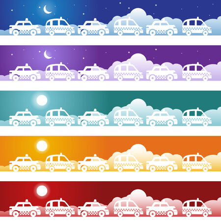 Taxi Banner Icon Set : Car icon theme image. Illustration