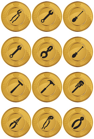 Tool Icons Coin : Set of gold coin icons with hardware tool equipment items. Stock Vector - 5163310