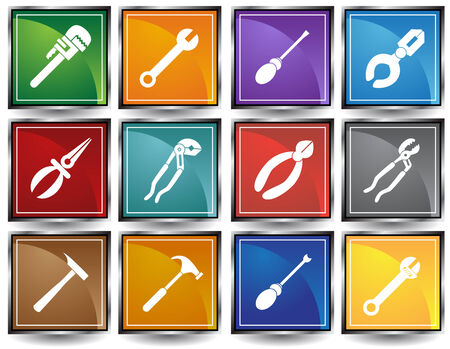 Tool Icons Square Color : Set of icons with hardware tool equipment items. Stock Vector - 5163276