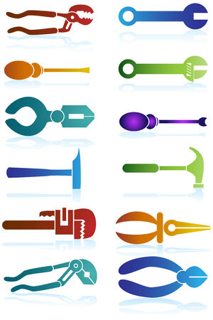 gouge: Tool Icons Color : Set of hardware tool device equipment object items.