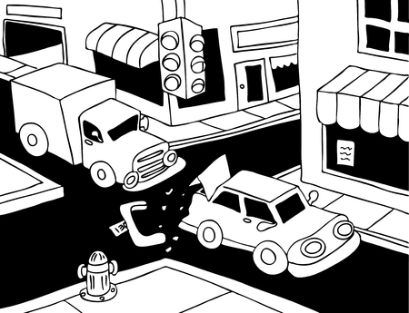 Car Accident Line Art: Truck read ends a car on the street. Vector