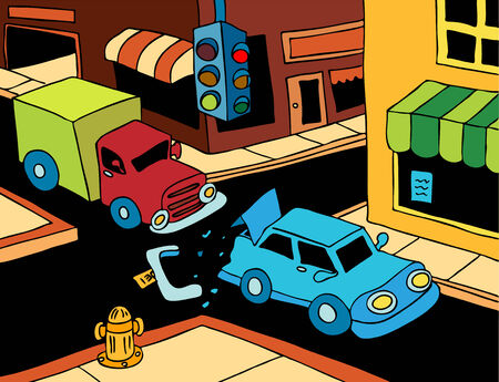 cartoon truck: Accidente de coche: Cami�n leer termina un coche en la calle.