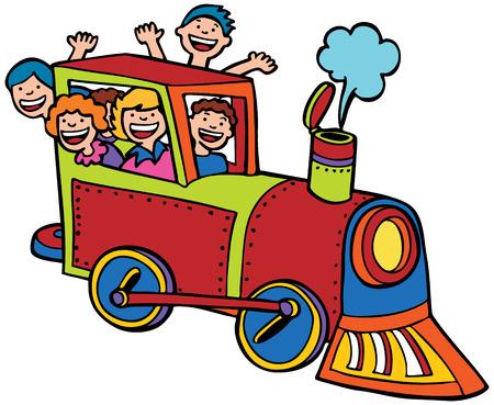 locomotives: Cartoon Train Ride Color : Kids wave from a train. Illustration