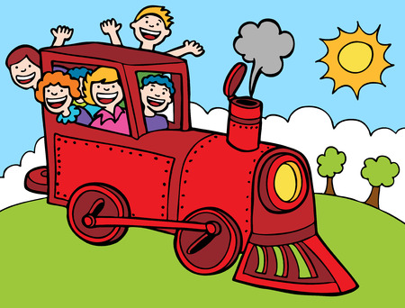 Cartoon Park Train Ride Color : Kids wave from a train.