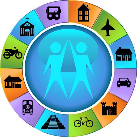 World Travelers set : Icon wheel representing world travel. Vector