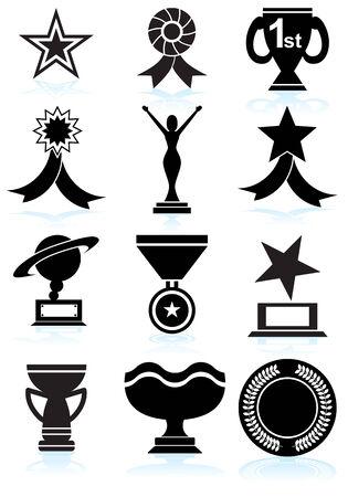 ribbon vector set: Award Icons Black : Set of award images in a variety of shapes and styles. Illustration