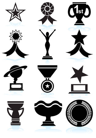 trofé: Award Icons Black : Set of award images in a variety of shapes and styles. Illustration