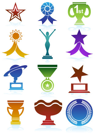 Award Icons Color : Set of award images in a variety of shapes and styles. Vector