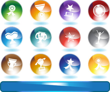 Award Icons Round : Set of award images in a variety of shapes and styles. Stock Vector - 5163307
