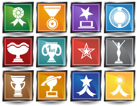 star award: Award Icons Square Frame : Set of award images in a variety of shapes and styles.
