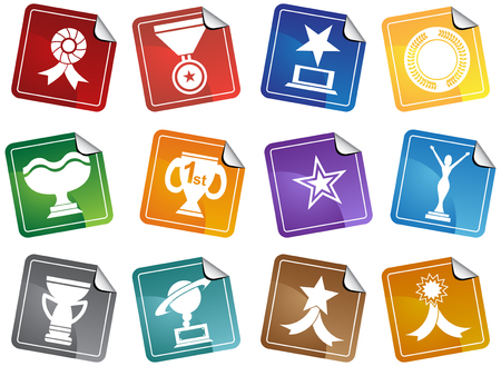 star award: Award Icons Sticker : Set of award images in a variety of shapes and styles.
