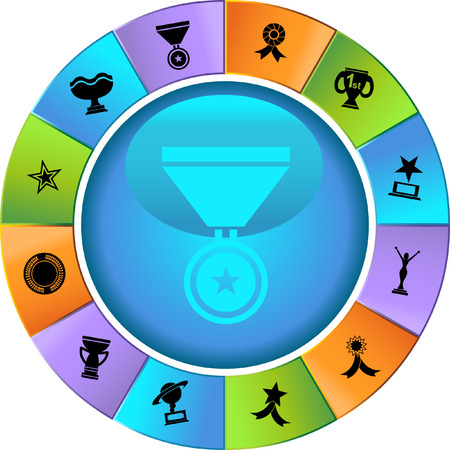 Award Icons Wheel : Set of award images in a variety of shapes and styles. Vector
