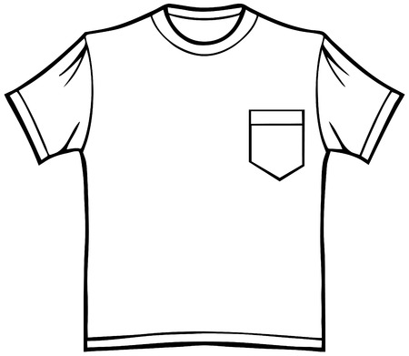 tee shirt: Pocket T-Shirt : Line art of a shirt.