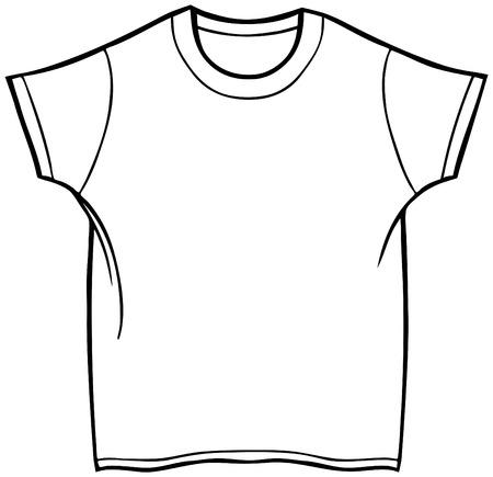 menswear: Tee Shirt : Line art of a shirt. Illustration