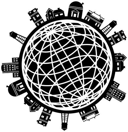 linee vettoriali: Citt� Globe: Set di edifici attorno ad una cornice di filo mondo in bianco e nero.