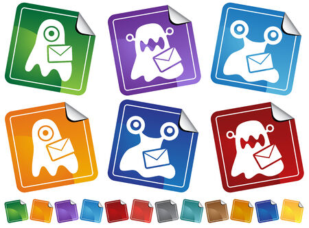 Virus Blob Email Sticker Icon Set : Set of dangerous viral icon symbols. Vector