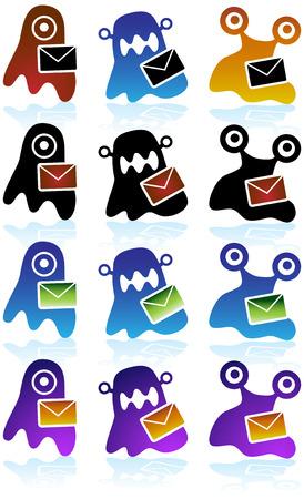 Virus Email Diagram Icon Set : Set of dangerous viral icon symbols. Stock Vector - 5163335