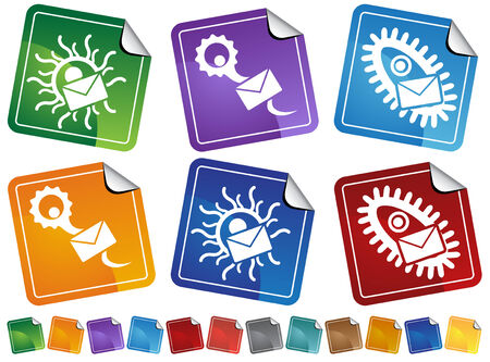 Virus Email Sticker Icon Set : Set of dangerous viral icon symbols. Vector