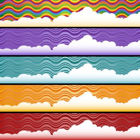 horizontal: Cloud Web Banner Set : Horizontal abstract banners.