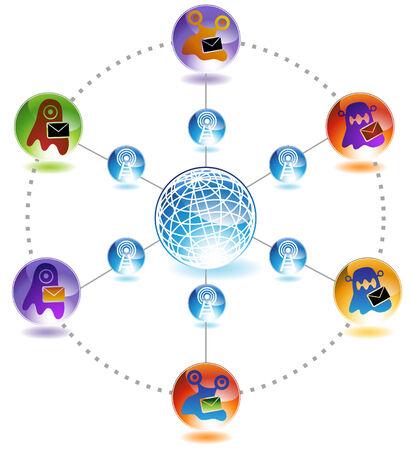 Virus Blob Email Diagram Icon Set : Set of dangerous viral icon symbols. Stock Vector - 5163329
