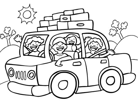 Road Trip Line Art Stock Vector - 5163322