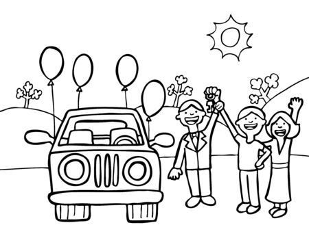 New Car Purchase Line Art Vector