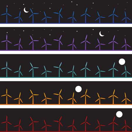 themed: Windmill Night Banner : Wind energy themed web banners with full and crescent moon sky background. Illustration